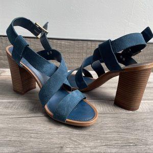 Franco Sarto navy blue leather chunky heel sandals